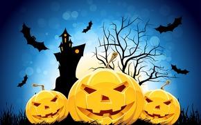 halloween, divertente zucca, vacanza, orrore, castello, mouse, albero, luna, sorridere, Orrore