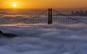 nebbia, Frisco, DAWN, California, mattinata