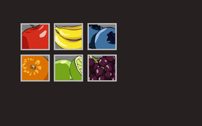 blueberry, fruit, squares, gray background, bananas, grapefruit, apple, orange, grapes