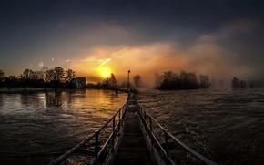 fiume, ponte, sole, salire