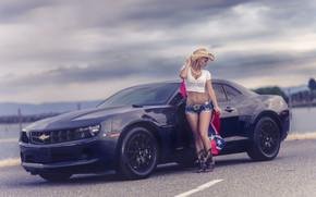 Chevrolet, ragazza, Camaro, bandiera, Chevrolet, pantaloncini, stradale