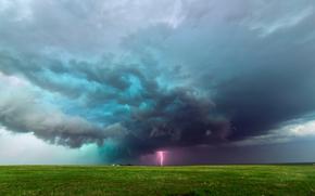 ферма, молния, равнины, поля, Колорадо, шторм, тучи, США