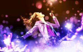 guitar, rock, girl, Music