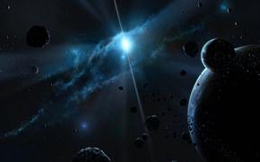 звезды, космос, тьма, планеты
