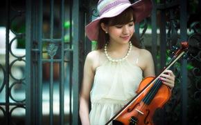 азиатка, музыка, скрипка, девушка