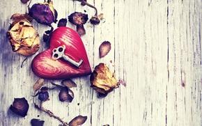 Key, heart, rose, Petals