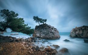 камни, скалы, море, пляж, деревья