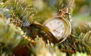 фон, широкоэкранные, елка, полноэкранные, иголки, настроения, цепочка, цепь, часы, обои, время, широкоформатные, часики, циферблат, дерево