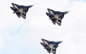 speed, drawing, Russia, sky, multi-purpose, Flies, PAK FA, fighter, Air force, aviation, plane, Three