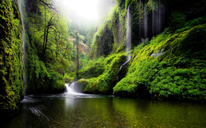Oregon, greens, nature, waterfalls, water, foliage, SPRING, USA, trees, river