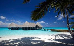 ocean, palm, clouds, sand, bungalow, sky, beach