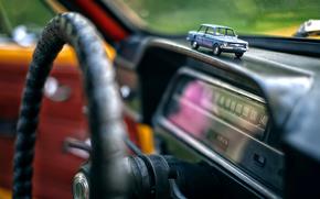 Management, Zaporozhets, salon, bokeh, steering wheel, toy, blur, retro, devices, panel, car, Macro, souvenir, tuning, MACHINE