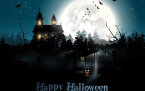 праздник, тыквы, ночь, луна, свет, летучие мыши, дом