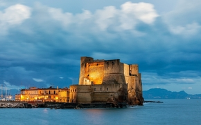CLOUDS, sky, castle, landscape, Castel del Ovo, city, fortress, Naples, Tyrrhenian Sea, evening, Italy