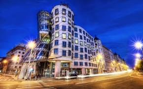 Praga, luci, Ceco, Repubblica, architettura, macchinario, pedonale, esposizione, Repubblica Ceca, notte, stradale, città, Dancing House, costruzione, luci