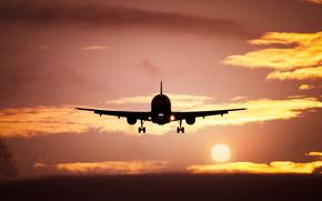 взлёт, солнце, облака, вечер, самолёт