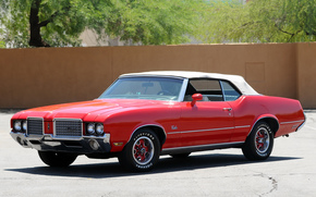 cabriolet, Other brands, muscle car, Olds, red