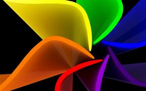цветок, радуга, лист, лепестки, объем