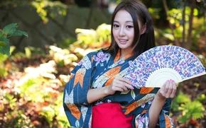 девушка, веер, стиль, азиатка, наряд