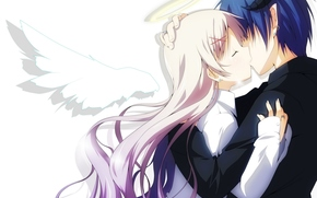 nimbus, anime, girl, kiss, wings, Art, angel, two, Tears, Horns, guy, demon, couple