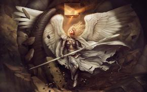 girl, wings, cube, stones, angel, lance, Art, debris