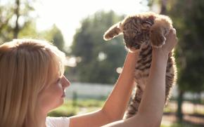 girl, kitten, tiger cub