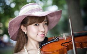 скрипка, музыка, девушка, азиатка