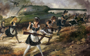 Art, Mosin rifle, Girls, maid, anime, weapon