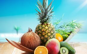 fruit, background, orange, fullscreen, kiwi, wallpaper, food, coconut, Widescreen, pineapple, Widescreen