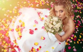 роз, лепестки, свадьба, красивая, лето, настроения, романтика, невеста, любовь, боке, счастье, свадебное платье, букет, размытость