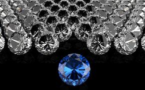 BLU DIAMOND, Ciottoli, Diamanti, sfondo nero