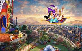 magic lamp, disney, Jasmine, kingdom, Thomas Kinkade, sultan, Flying Carpet, princess, painting, city, palace, FOUNTAIN, Aladdin