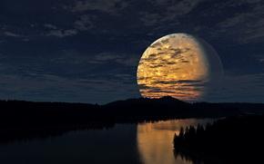 луна, ночь, река, отражение, лес, Небо, звезды