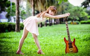 гитара, музыка, азиатка, девушка