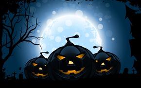 halloween, holiday horror, funny pumpkin, moon, Horror, holiday, tree, smile