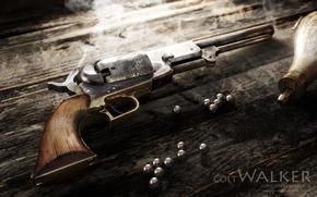 revolver, weapon, Colt Walker, Rendering