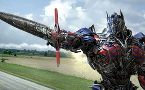 sky, head, CLOUDS, field, Optimus Prime, Autobot, Sparks, iron, Michael Bay, road, weapon, sword, trees, Transformers: The era of destruction