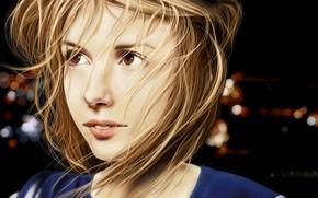 menina, luzes, face, fundo, cabelo, Arte, lábios, olhos castanhos
