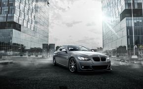 city, tuning, BMW, BMW, fog, sky, Drives