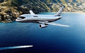 plane, city, bay, shore, BOAT, sky