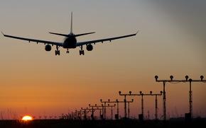 aviation, sunset, plane