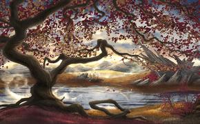 арт, река, камни, горы, нарисованный пейзаж, корни, дерево, листва