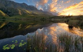 salire, Montagne, Sudafrica, riflessione, lago