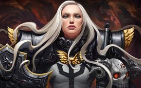 girl, armor, armor, fantasy, shield, white hair, view, Art, warrior