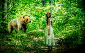 bear, forest, girl