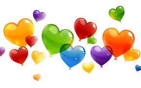 воздушные шарики, сердечко, абстракция, валентин, святой, влюбленные, сердце