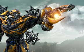 city, weapon, Transformers: The era of destruction, Metal, Autobot, gun, yellow, CLOUDS, Michael Bay, sky, home, Bumblebee, Blades