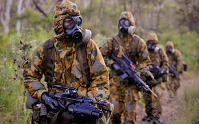 mask, rain, forest, automatic, rifle, order, equipment, soldiers, camouflage