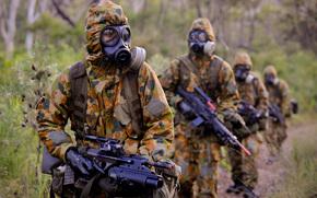 maschera, pioggia, foresta, automatico, fucile, ordine, attrezzatura, soldati, camuffare