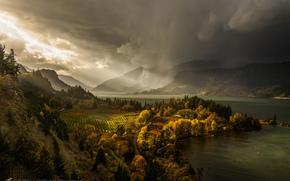 light, Colombia, river, autumn, canyon, USA, Oregon, rain, November, CLOUDS, staff